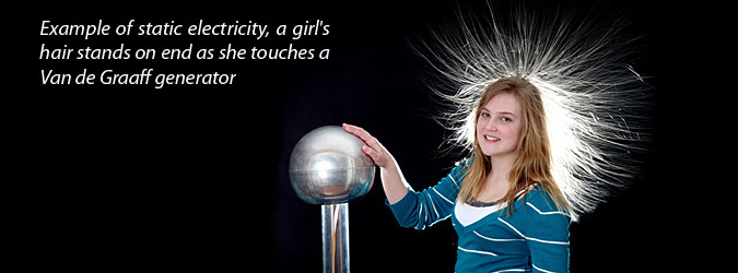 example of static electricity, a girl's hair stands on end as she touches a Van de Graaff generator